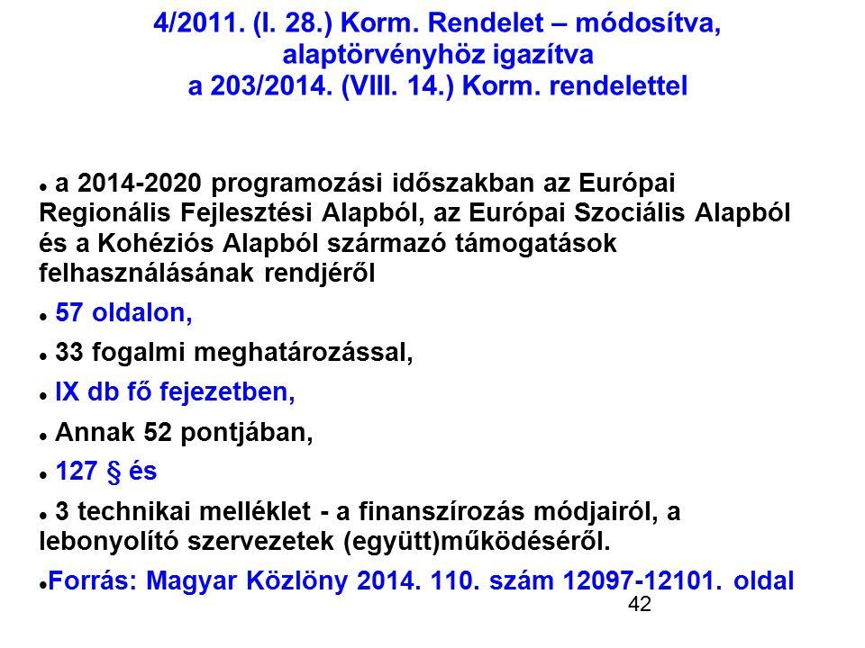 4/2011. (I. 28.) Korm. Rendelet – módosítva, alaptörvényhöz igazítva a 203/2014. (VIII. 14.) Korm. rendelettel