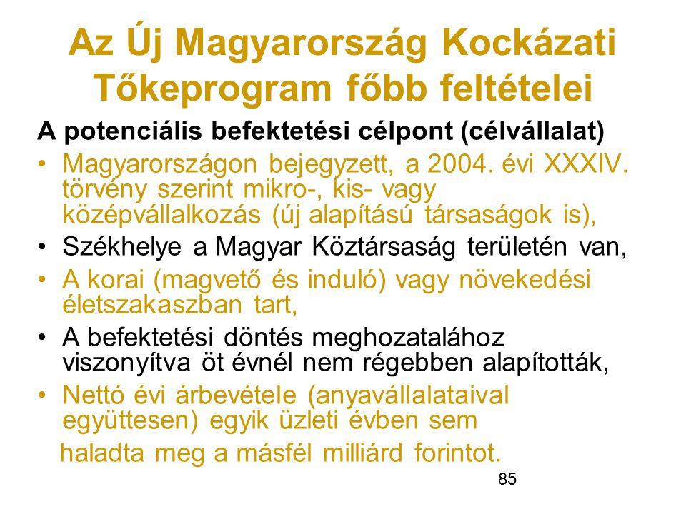 Az Új Magyarország Kockázati Tőkeprogram főbb feltételei