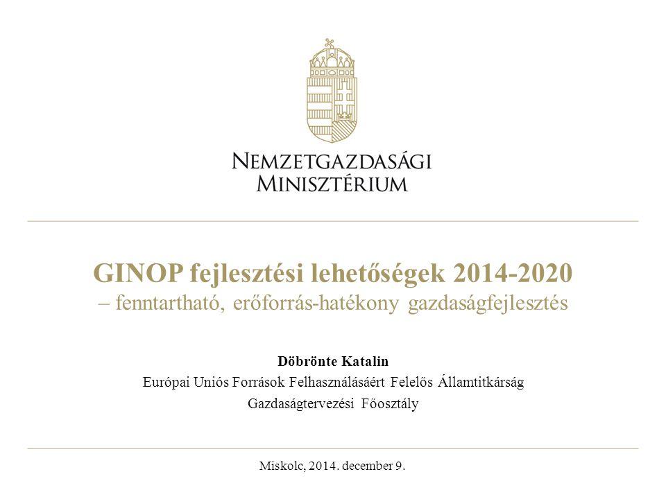 GINOP fejlesztési lehetőségek 2014-2020 – fenntartható, erőforrás-hatékony gazdaságfejlesztés