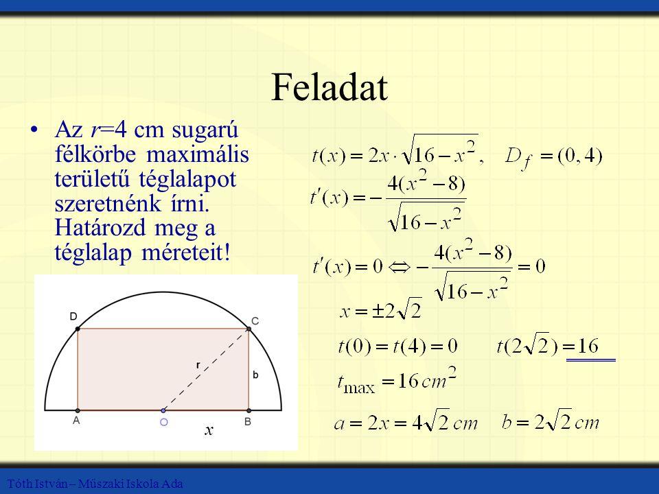 Feladat Az r=4 cm sugarú félkörbe maximális területű téglalapot szeretnénk írni. Határozd meg a téglalap méreteit!