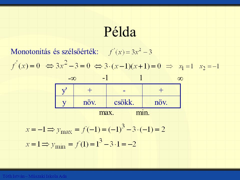 Példa Monotonitás és szélsőérték: növ. csökk. y + - y -∞ -1 1 ∞ max.