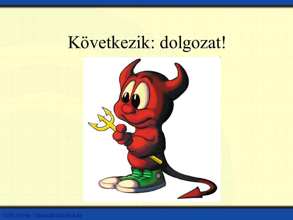 Következik: dolgozat! Tóth István – Műszaki Iskola Ada