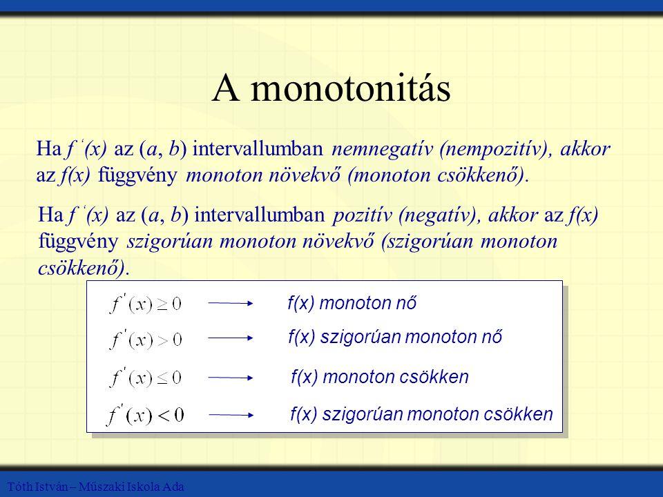 A monotonitás Ha f '(x) az (a, b) intervallumban nemnegatív (nempozitív), akkor az f(x) függvény monoton növekvő (monoton csökkenő).