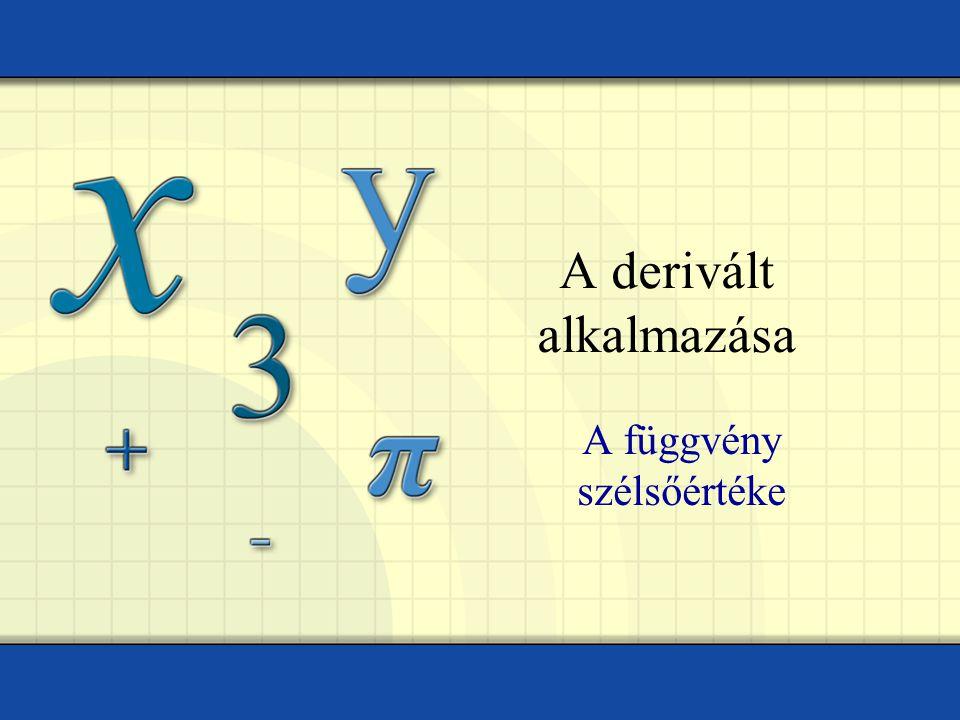A derivált alkalmazása