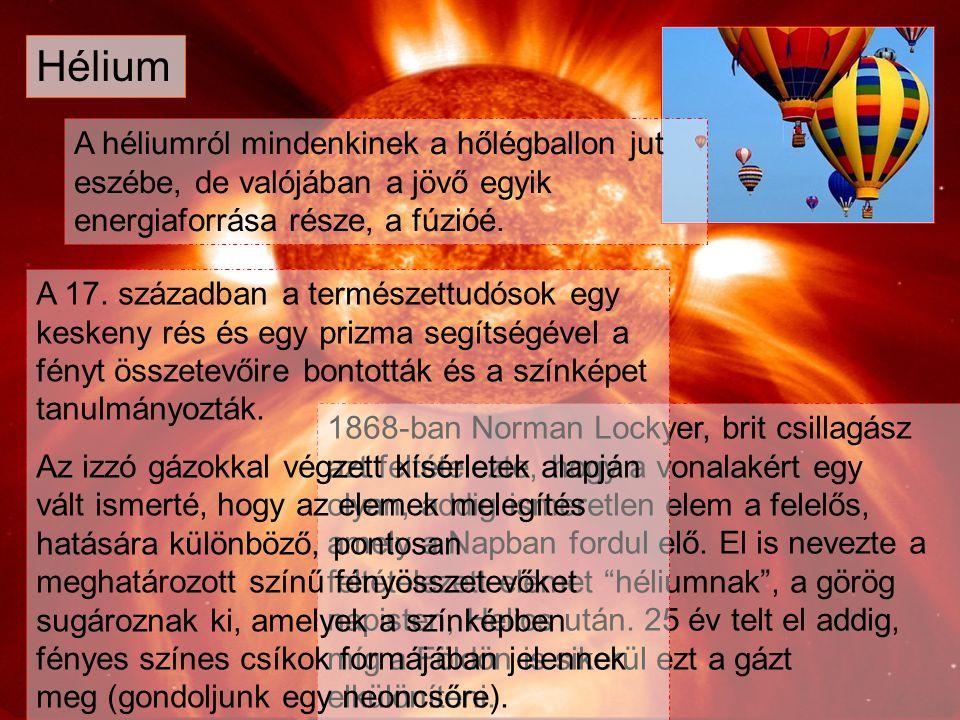 Hélium A héliumról mindenkinek a hőlégballon jut eszébe, de valójában a jövő egyik energiaforrása része, a fúzióé.