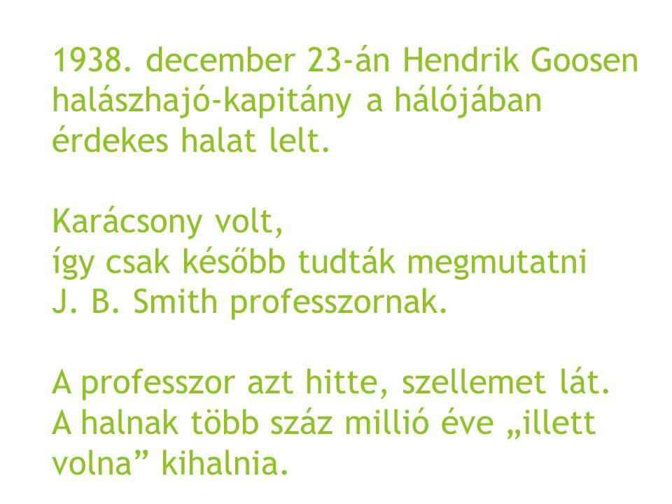 1938. december 23-án Hendrik Goosen halászhajó-kapitány a hálójában érdekes halat lelt.