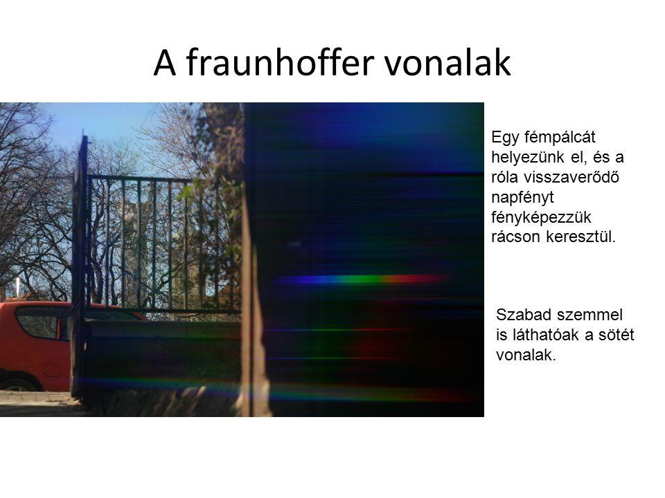 A fraunhoffer vonalak Egy fémpálcát helyezünk el, és a róla visszaverődő napfényt fényképezzük rácson keresztül.