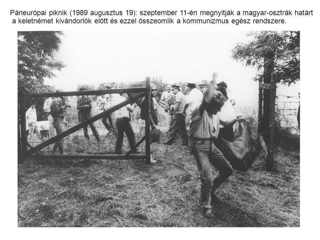 Páneurópai piknik (1989 augusztus 19): szeptember 11-én megnyitják a magyar-osztrák határt