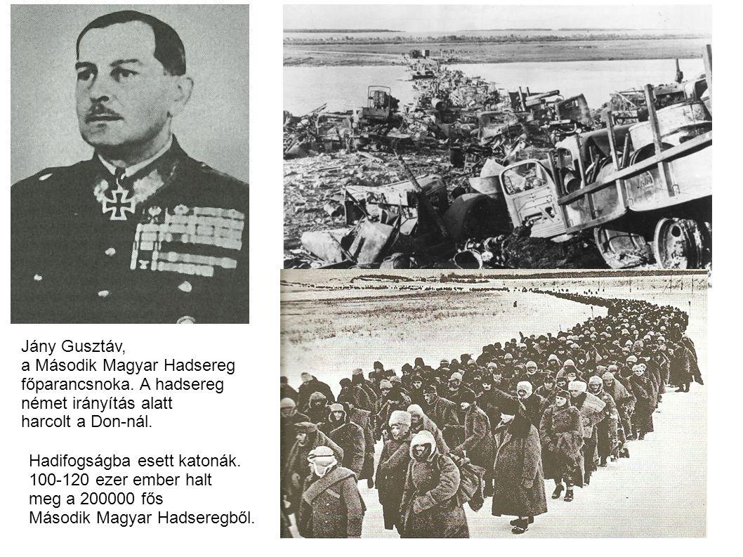 Jány Gusztáv, a Második Magyar Hadsereg. főparancsnoka. A hadsereg. német irányítás alatt. harcolt a Don-nál.