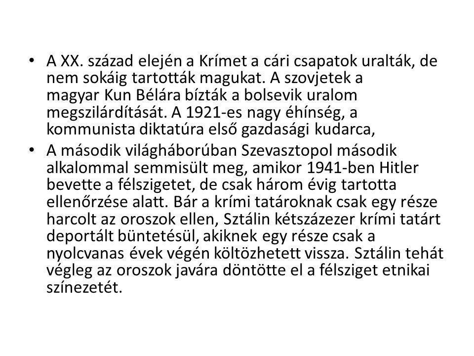 A XX. század elején a Krímet a cári csapatok uralták, de nem sokáig tartották magukat. A szovjetek a magyar Kun Bélára bízták a bolsevik uralom megszilárdítását. A 1921-es nagy éhínség, a kommunista diktatúra első gazdasági kudarca,