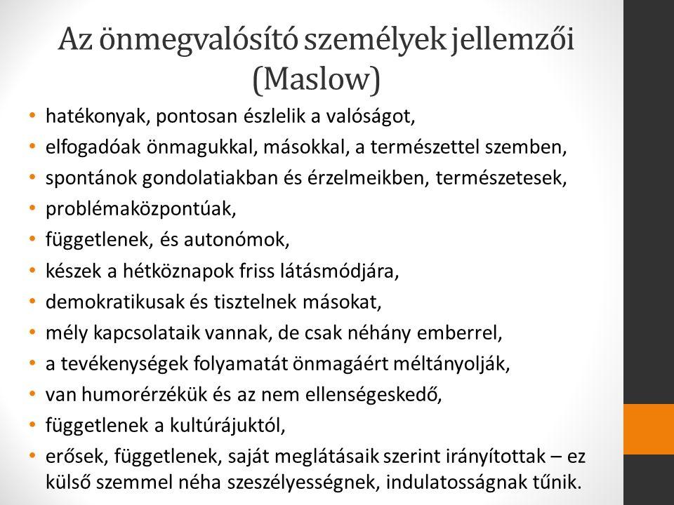 Az önmegvalósító személyek jellemzői (Maslow)