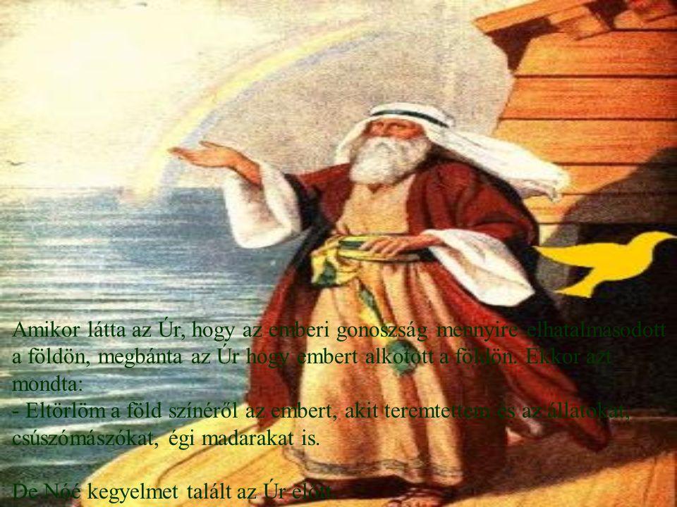 Amikor látta az Úr, hogy az emberi gonoszság mennyire elhatalmasodott a földön, megbánta az Úr hogy embert alkotott a földön. Ekkor azt mondta: