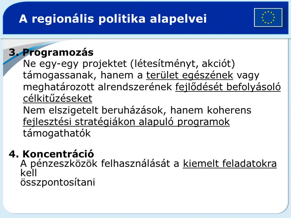 A regionális politika alapelvei
