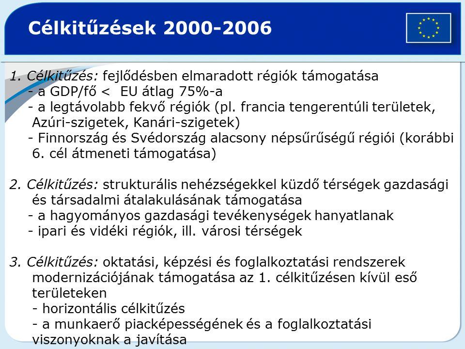 Célkitűzések 2000-2006 1. Célkitűzés: fejlődésben elmaradott régiók támogatása. - a GDP/fő < EU átlag 75%-a.