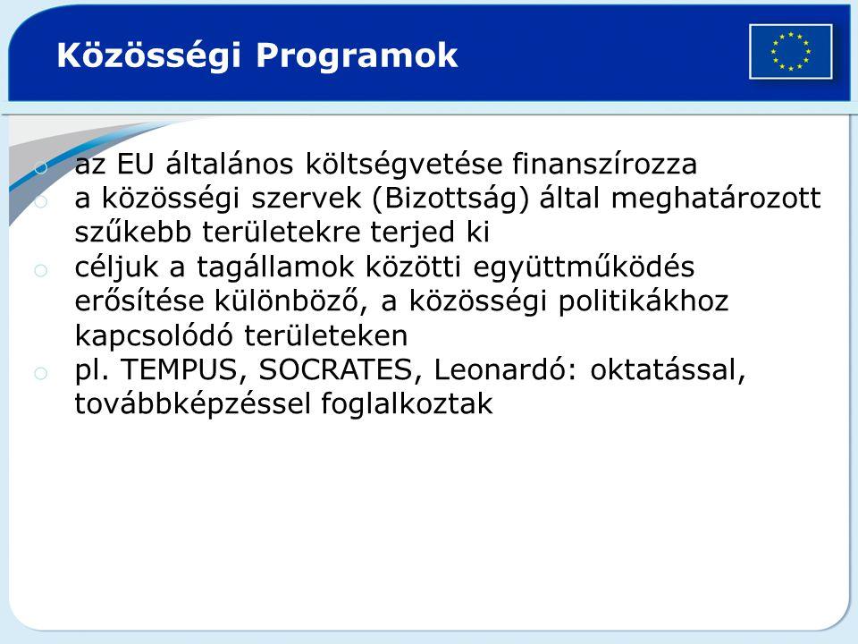 Közösségi Programok az EU általános költségvetése finanszírozza