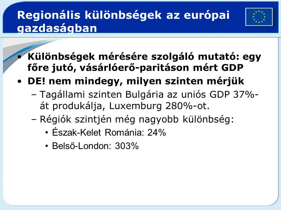 Regionális különbségek az európai gazdaságban