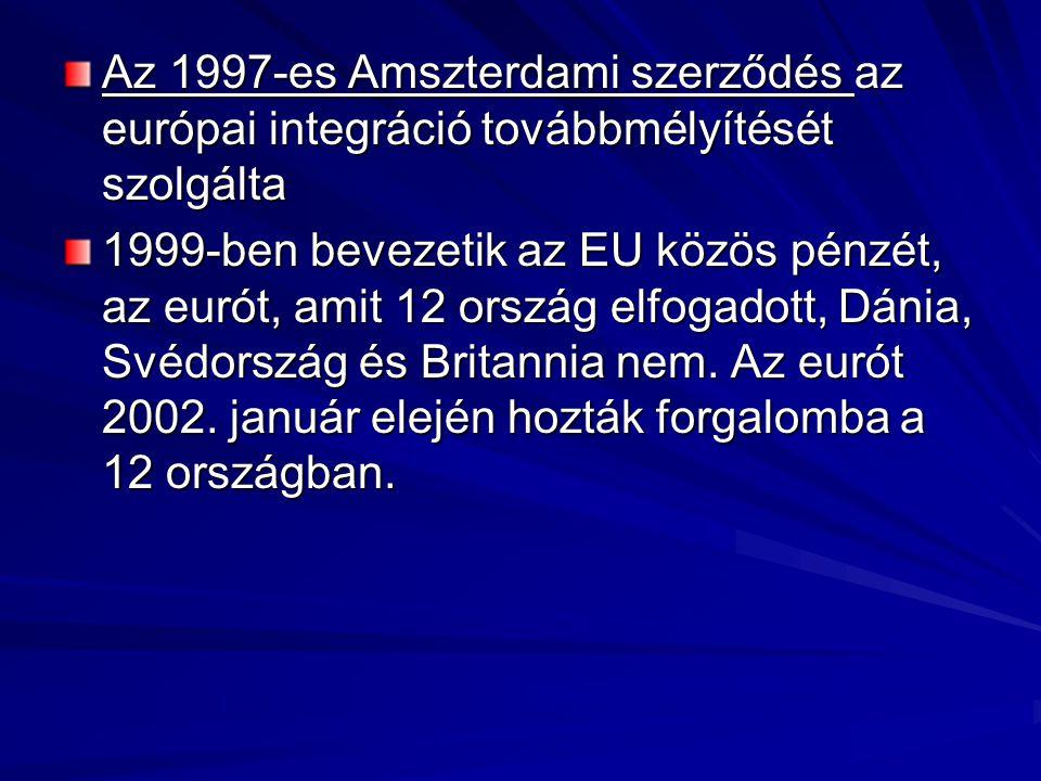 Az 1997-es Amszterdami szerződés az európai integráció továbbmélyítését szolgálta