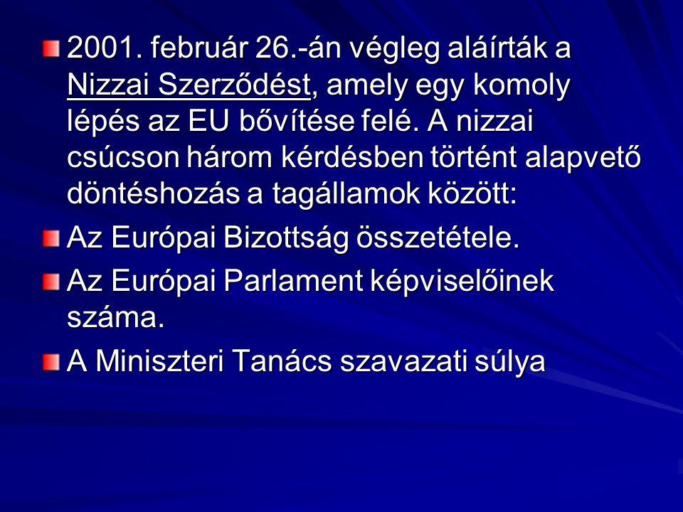 2001. február 26.‑án végleg aláírták a Nizzai Szerződést, amely egy komoly lépés az EU bővítése felé. A nizzai csúcson három kérdésben történt alapvető döntéshozás a tagállamok között: