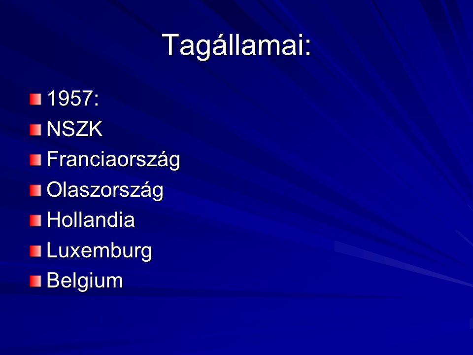 Tagállamai: 1957: NSZK Franciaország Olaszország Hollandia Luxemburg