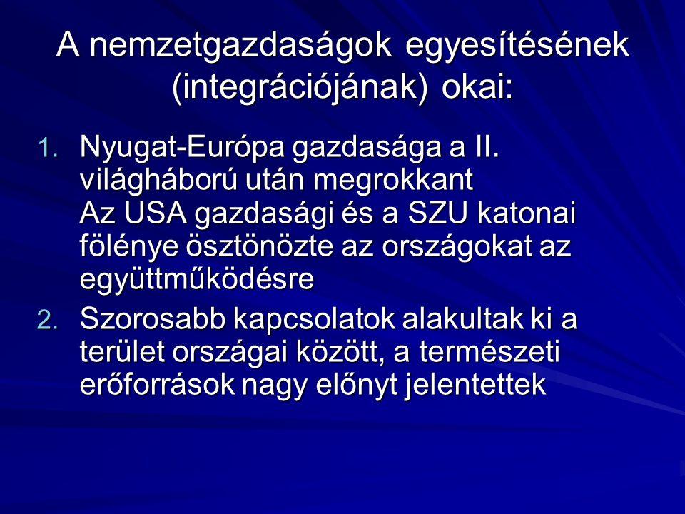 A nemzetgazdaságok egyesítésének (integrációjának) okai: