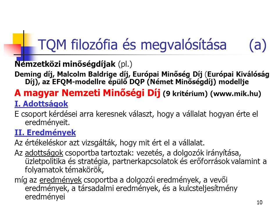 TQM filozófia és megvalósítása (a)