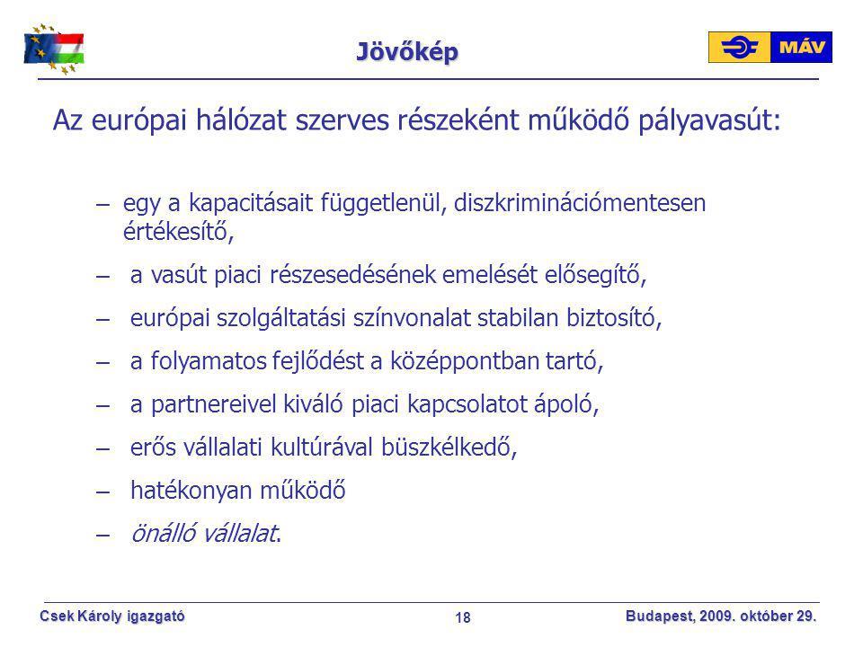 Az európai hálózat szerves részeként működő pályavasút: