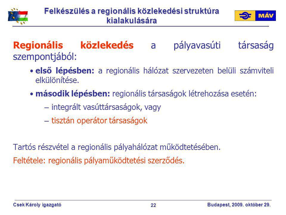 Felkészülés a regionális közlekedési struktúra kialakulására