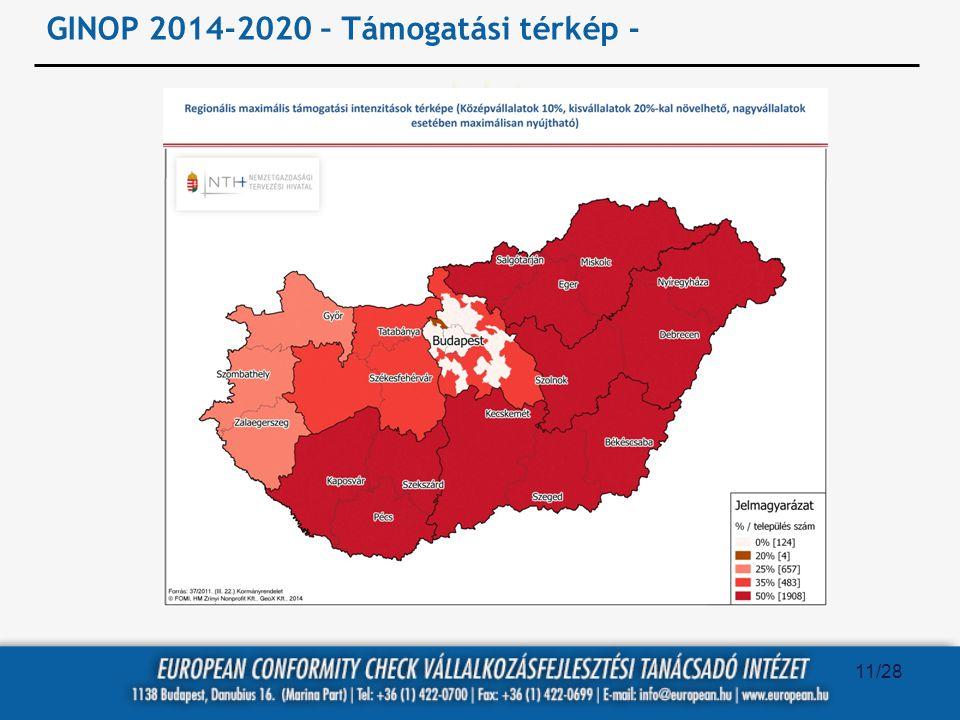 GINOP 2014-2020 – Támogatási térkép -
