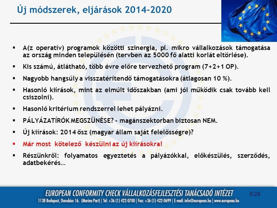 Új módszerek, eljárások 2014-2020