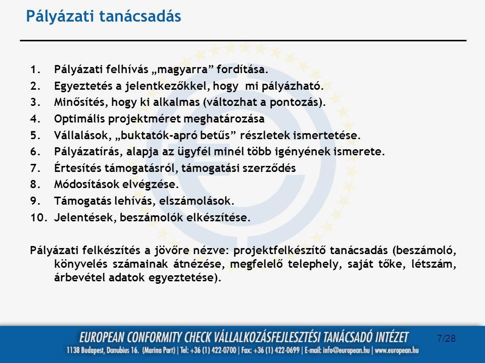 """Pályázati tanácsadás Pályázati felhívás """"magyarra fordítása."""