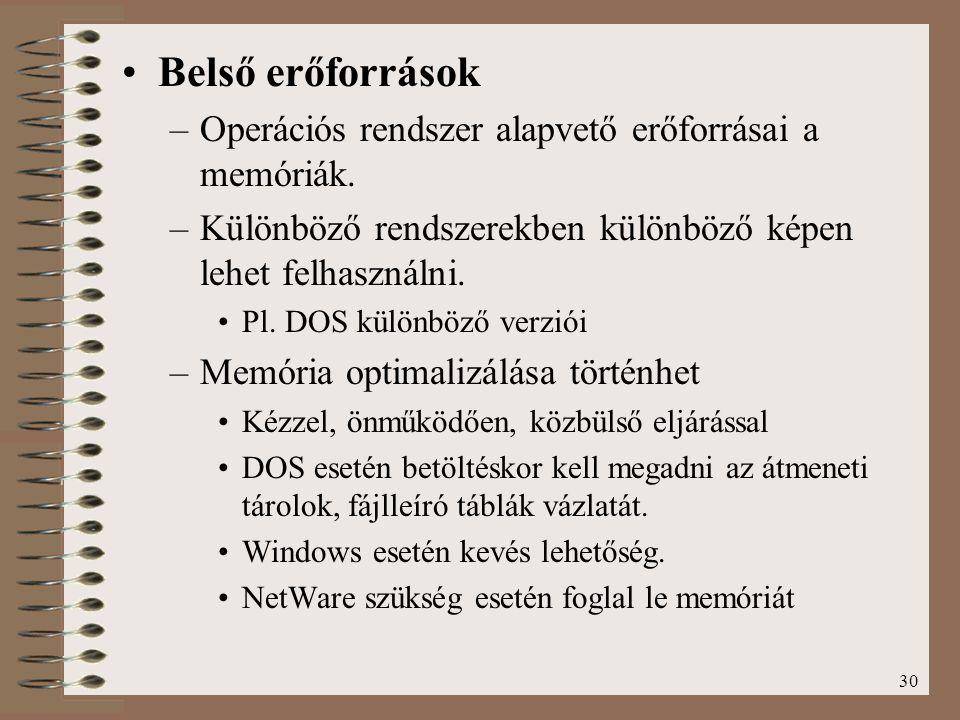 Belső erőforrások Operációs rendszer alapvető erőforrásai a memóriák.