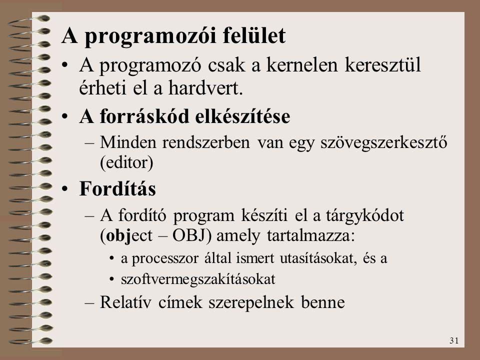 A programozói felület A programozó csak a kernelen keresztül érheti el a hardvert. A forráskód elkészítése.