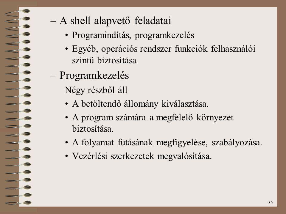 A shell alapvető feladatai