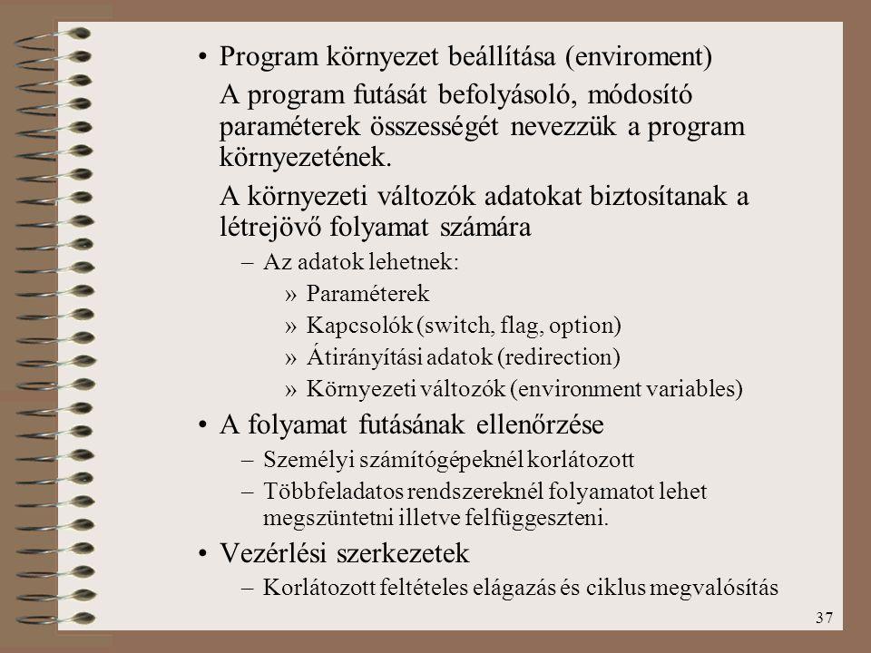Program környezet beállítása (enviroment)