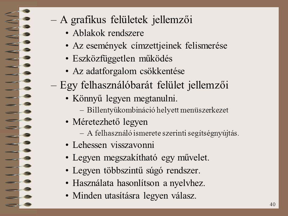 A grafikus felületek jellemzői