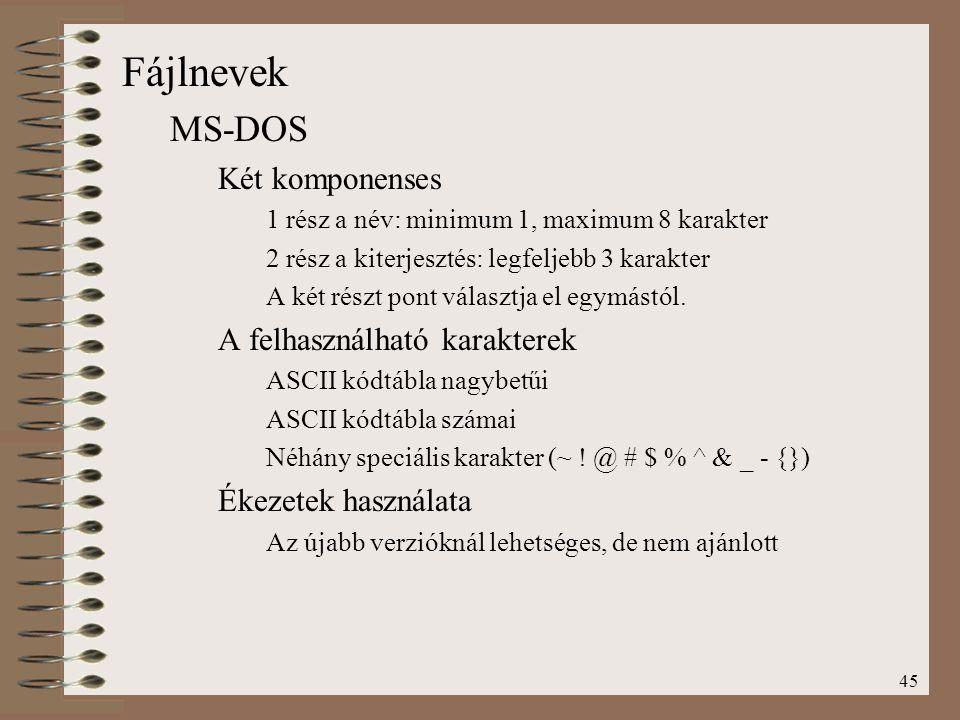 Fájlnevek MS-DOS Két komponenses A felhasználható karakterek