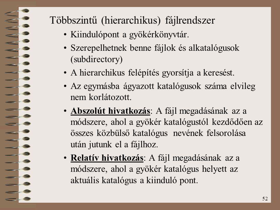 Többszintű (hierarchikus) fájlrendszer