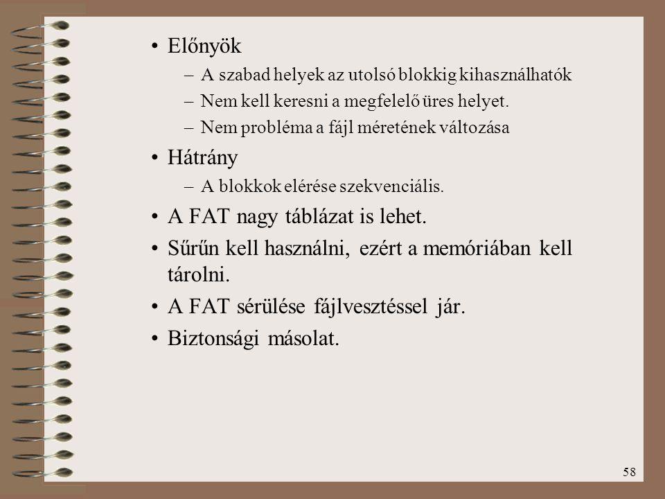 A FAT nagy táblázat is lehet.