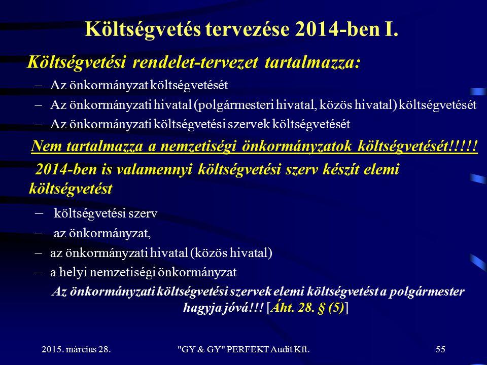 Költségvetés tervezése 2014-ben I.