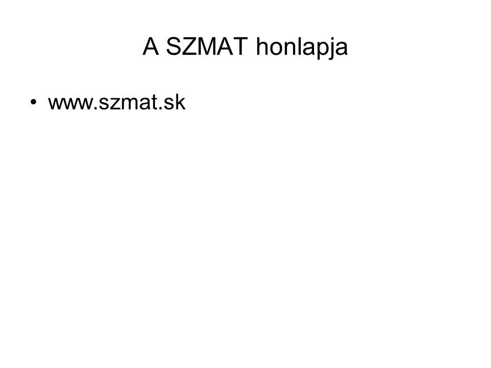 A SZMAT honlapja www.szmat.sk