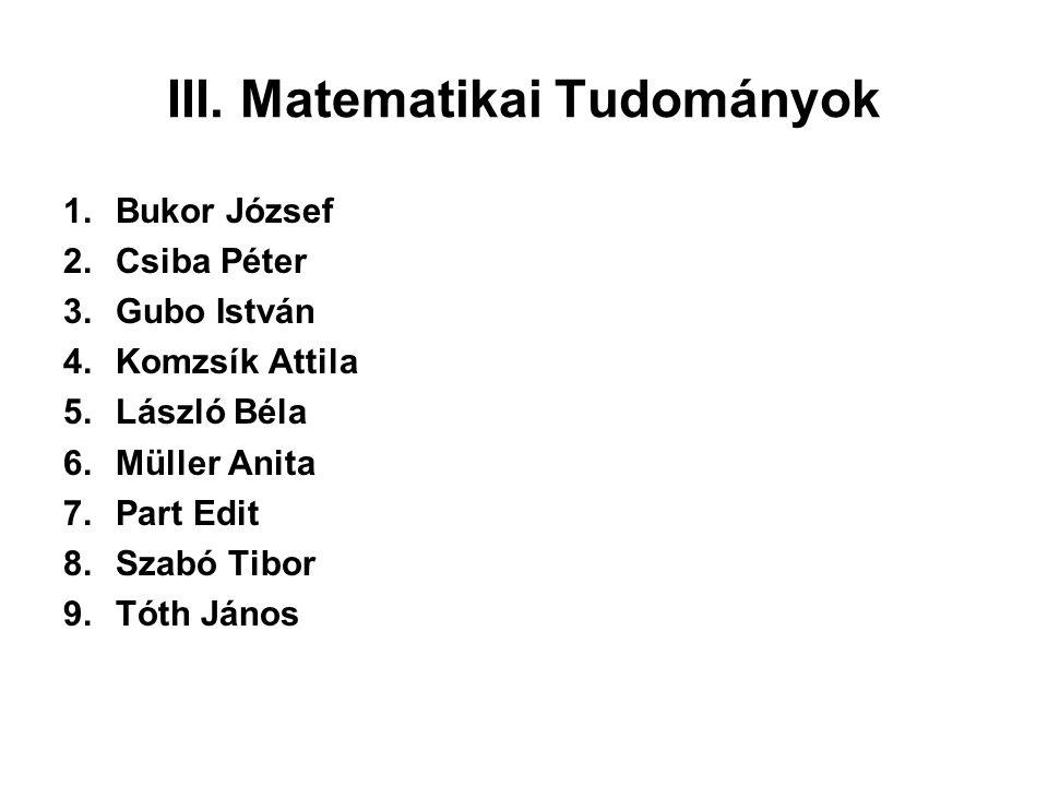 III. Matematikai Tudományok