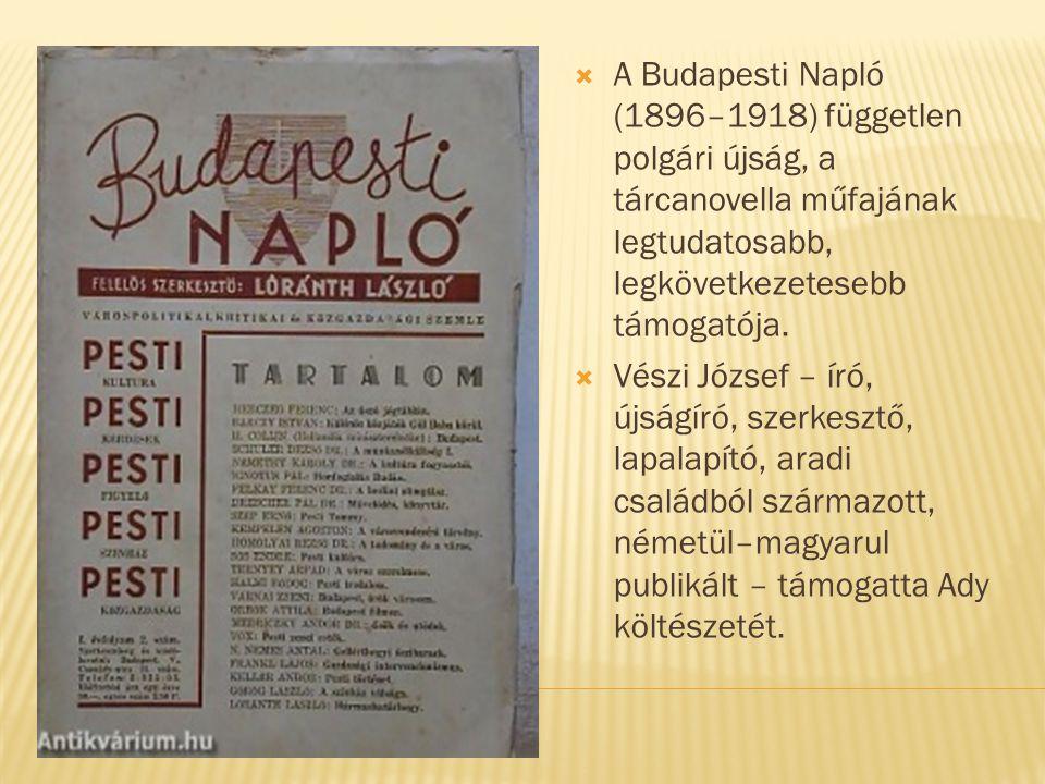 A Budapesti Napló (1896–1918) független polgári újság, a tárcanovella műfajának legtudatosabb, legkövetkezetesebb támogatója.