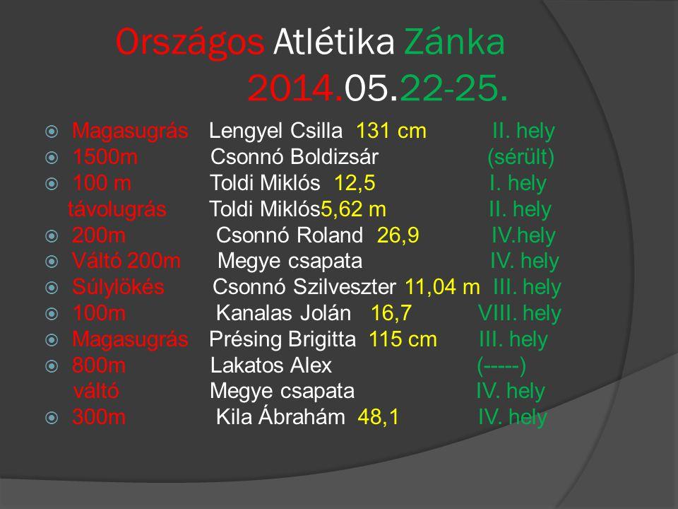 Országos Atlétika Zánka 2014.05.22-25.