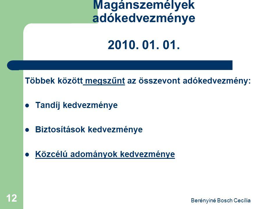 Magánszemélyek adókedvezménye 2010. 01. 01.