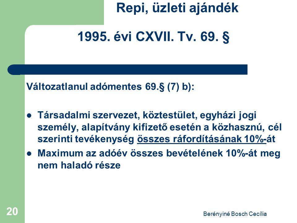 Repi, üzleti ajándék 1995. évi CXVII. Tv. 69. §