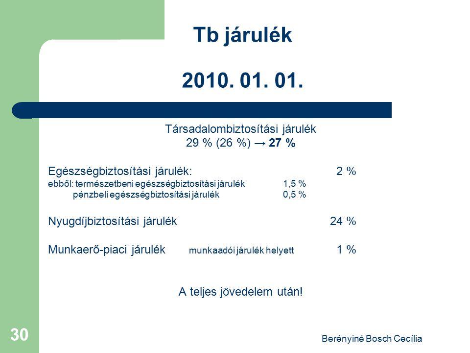Tb járulék 2010. 01. 01. Társadalombiztosítási járulék