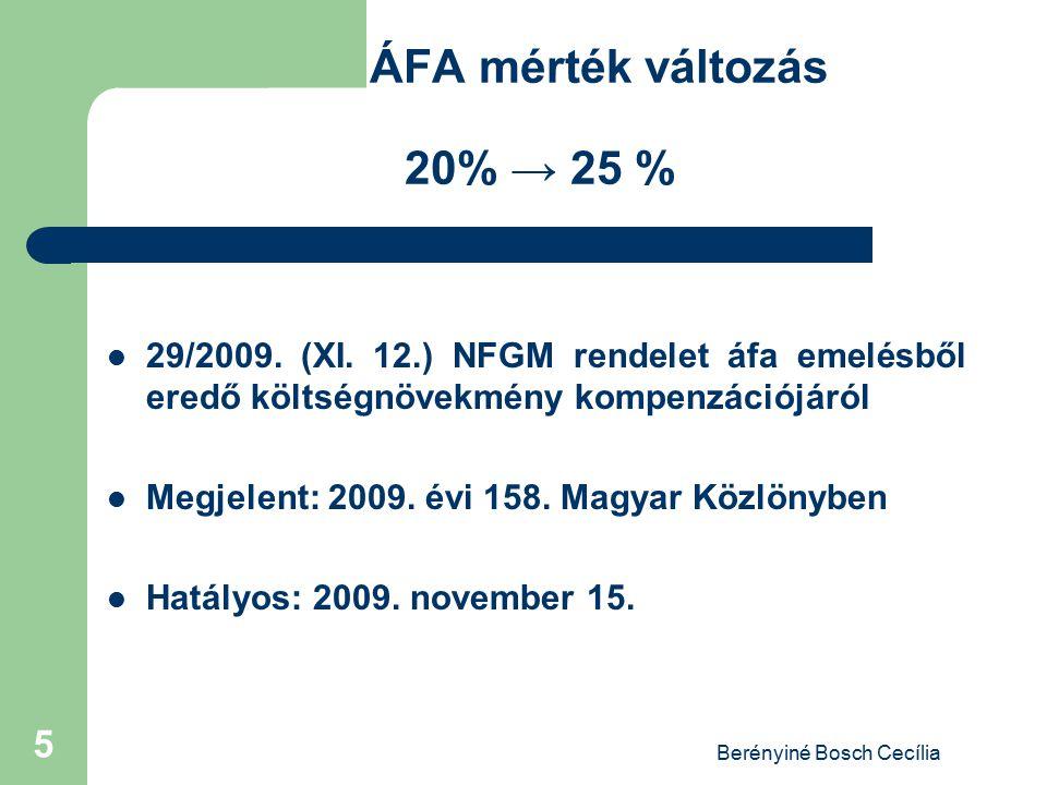 ÁFA mérték változás 20% → 25 %