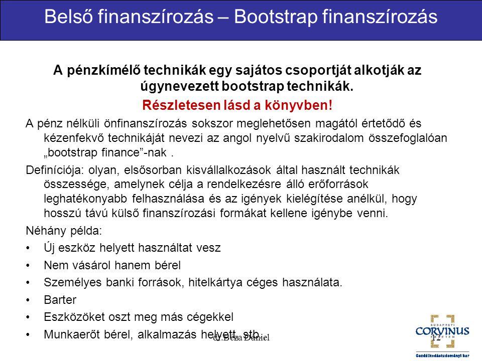 Belső finanszírozás – Bootstrap finanszírozás