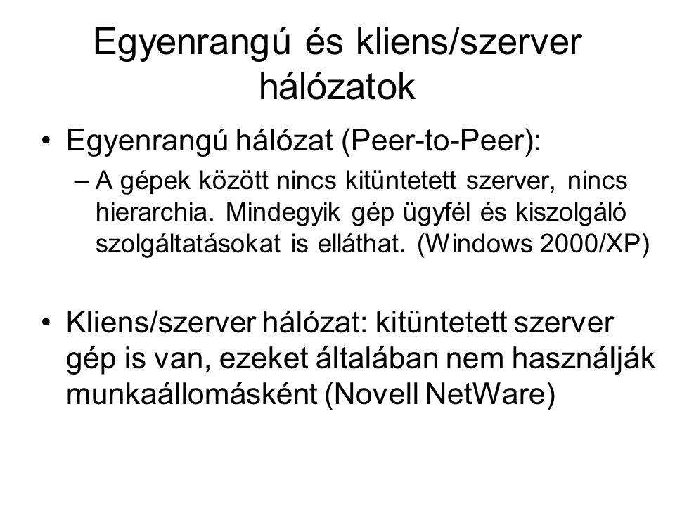 Egyenrangú és kliens/szerver hálózatok