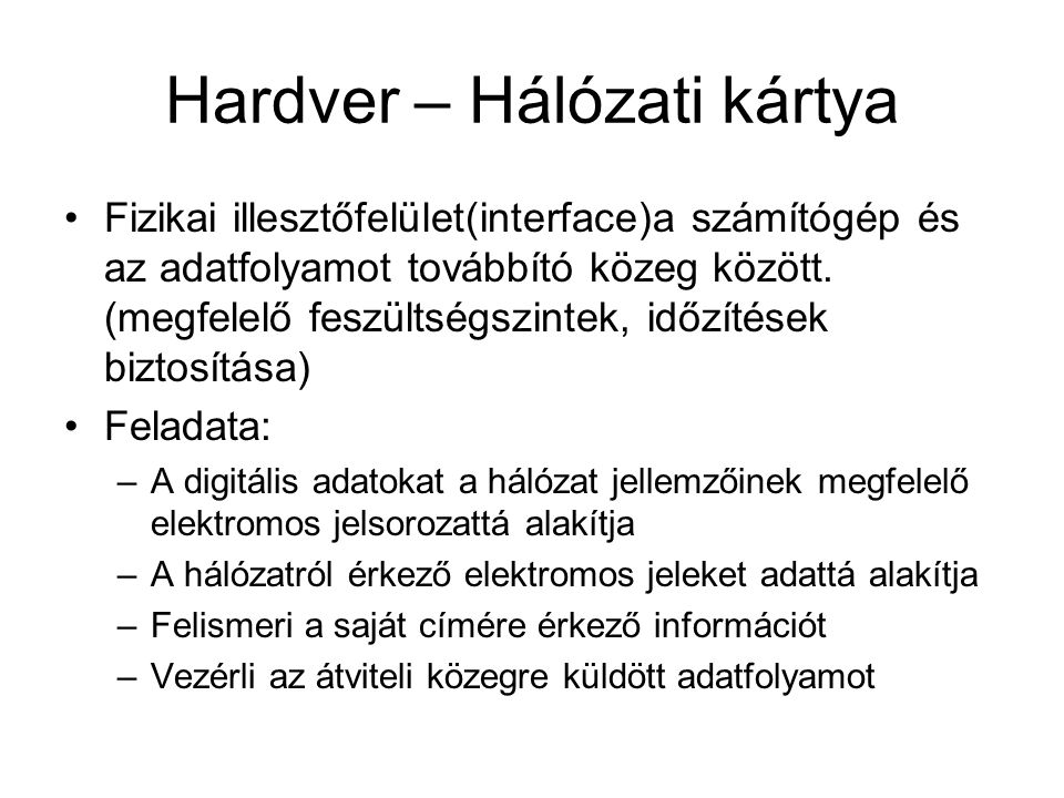 Hardver – Hálózati kártya